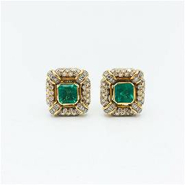 DAVID WEBB  8 TCW Columbian Emerald & Diamond 18K Gold