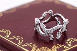 Cartier 18k White Gold Diamond Ring Size 53