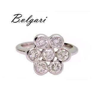 Bulgari Platinum 950 1.40 TCW VS E Diamond Flower Ring