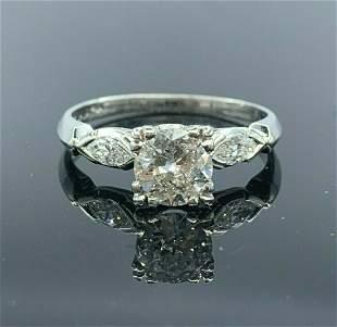 Estate Platinum Engagement Ring Diamond .84 Center/1.08