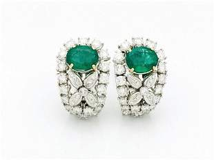 Estate 18k  Gold 4ct Emerald 5ct Diamond Earrings