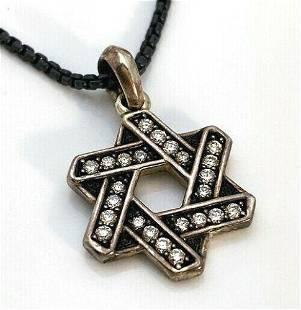 David Yurman Star of David Diamond 925 Silver Pendant