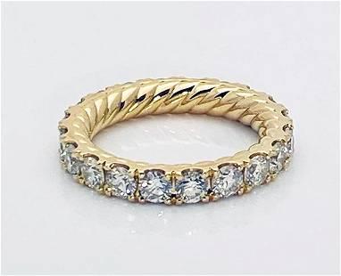 David Yurman Diamond 18K Gold Wedding Band 3.6 mm Size