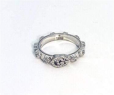 Gucci GG Running 18K White Gold Diamond Band Ring Size