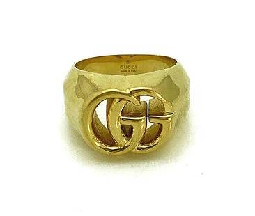 Gucci Running G Marmont 18K Yellow Gold Ring Size 10