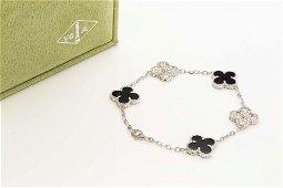 VCA Vintage Alhambra bracelet, 5 motifs 18K White gold,