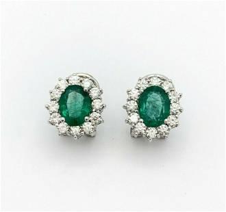 5ct Emerald &. Diamond w/18K White Gold Clip-On Earring
