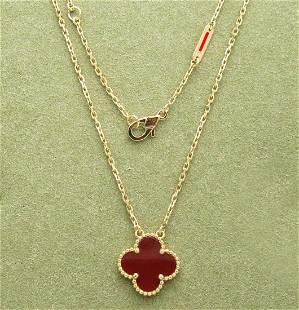 Van Cleef & Arpels Magic Alhambra Carnelian Necklace