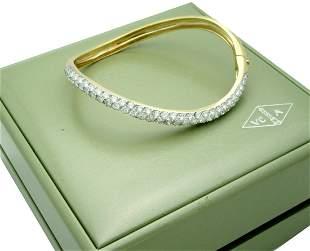 Van Cleef & Arpels 18k Diamond Bangle Bracelet Yellow