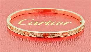 CARTIER 18K YELLOW GOLD PAVE DIAMOND LOVE BRACELET