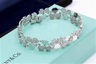 Tiffany & Co Paper Flowers 4CT Diamond Cluster Bracelet