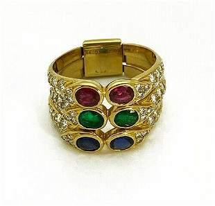 Tiffany & Co 18K Gold Diamond Ruby Emerald Sapphire