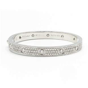 Cartier 18K White Gold 3.44tcw Diamond Love Bracelet 16