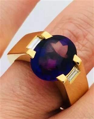 Cartier 18k Gold Amethyst Diamond Ring Size 6