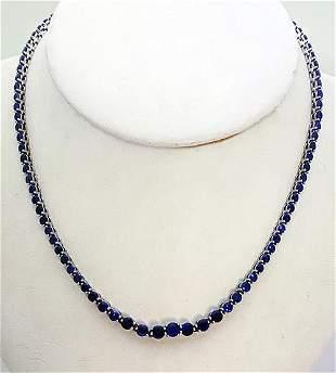 Tiffany 18K White Gold Sapphire Victoria Necklace