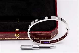 Cartier 18K White Gold 10 diamond love bracelet