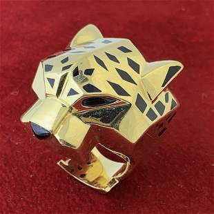 CARTIER PANTHERE 18K YELLOW GOLD LARGE HEAD RING