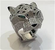 PANTHERE DE CARTIER DIAMOND EMERALD ONYX RING SIZE 56