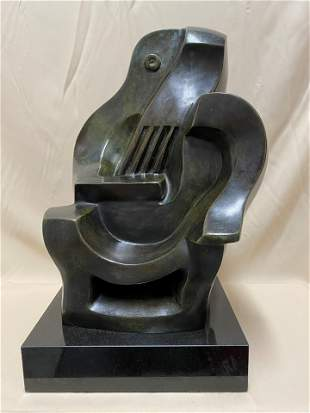 J. Lipchitz Large Lithuanian Bronze Sculpture Guitarist