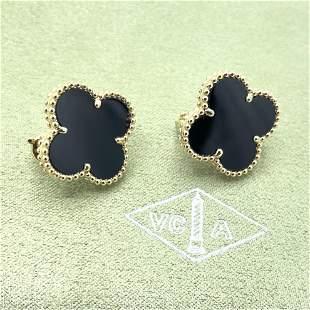 Van Cleef & Arpels Alhambra Onyx Earrings
