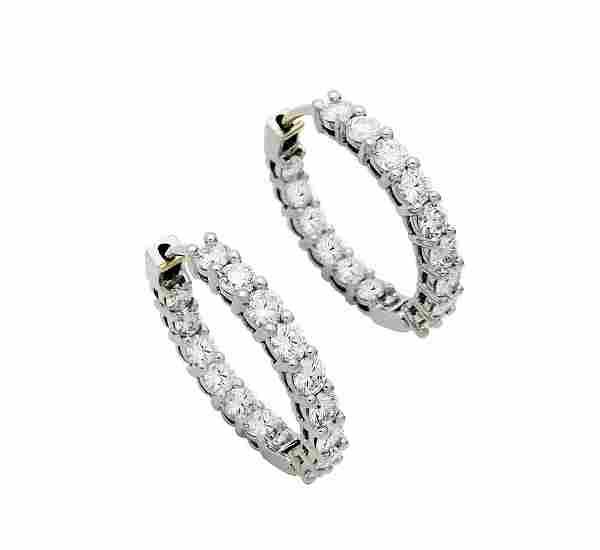 Tiffany & Co Diamond Medium Hoop Earrings in Platinum