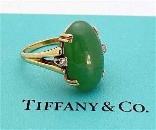 Estate Tiffany & Co. 14K Yellow Gold Jade Ring Size 8.5
