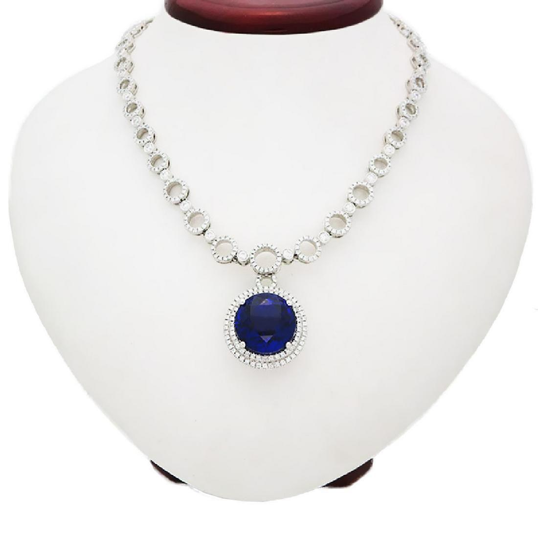 Modern 18K Gold, diamond large round Tanzanite Necklace