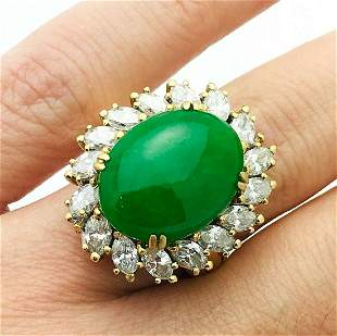 18k Yellow Gold Jade & Diamond Ring Sz 6.5