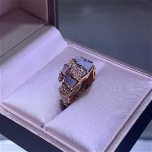 BVLGARI Serpenti Viper one-coil ring 18kt Pave Diamond
