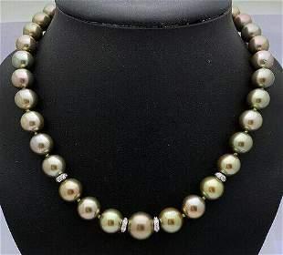 "14KGold 14mm Tahitian Pearls Diamond Beaded 18"""