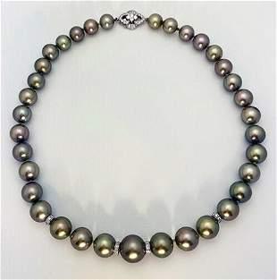 14K White Gold Tahitian Pearl Diamonds Beaded Necklace