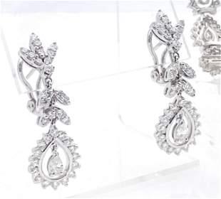 14k White Gold Diamond Bracelet & Earrings Set