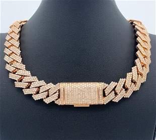 Cuban Link Chain Chocker Necklace 14K Rose Gold W/ 45
