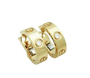 Cartier LOVE EARRINGS, 2 DIAMONDS 18K YELLOW GOLD