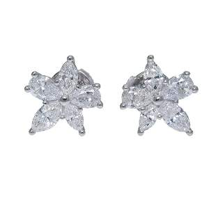 Tiffany & Co Platinum Victoria Mixed Cluster Earrings