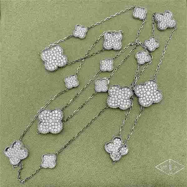 Van Cleef & Arpels 16 Motif Alhambra 18K Diamond Neckla