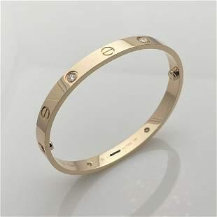 Cartier 4 Diamond Love Bracelet Size 17