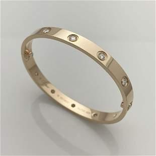 Cartier10 Diamond Love Bracelet Size 16