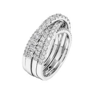 8K White Gold Diamond Overlap Cocktail Ring