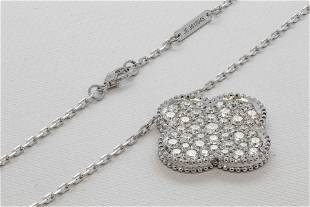 VCA 18K White Gold Large diamond pendant