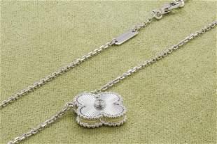 VCA Vintage Alhambra pendant White gold Diamond