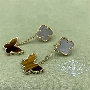 Van Cleef & Arpels 2Motif Butterfly Tiger Eye Earrings
