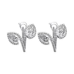 Diamond Bypass Pear Shape Hoop Earrings