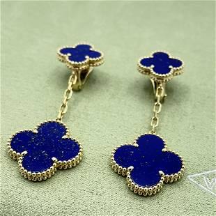 Van Cleef & Arpels Magic Alhambra Lapis Earrings