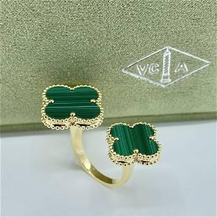 Van Cleef & Arpels Alhambra Double Motif Malachite Ring