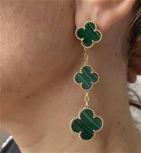 Van Cleef & Arpels Alhambra 3 Motif Malachite Earrings