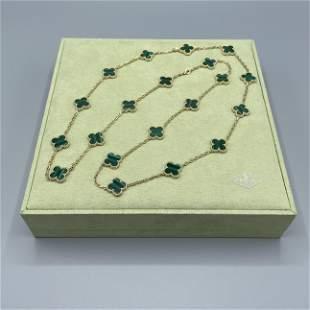 Van Cleef & Arpels Alhambra Malachite 20 Motif Necklace