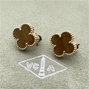 Van Cleef & Arpels Alhambra Tiger Eye Earrings