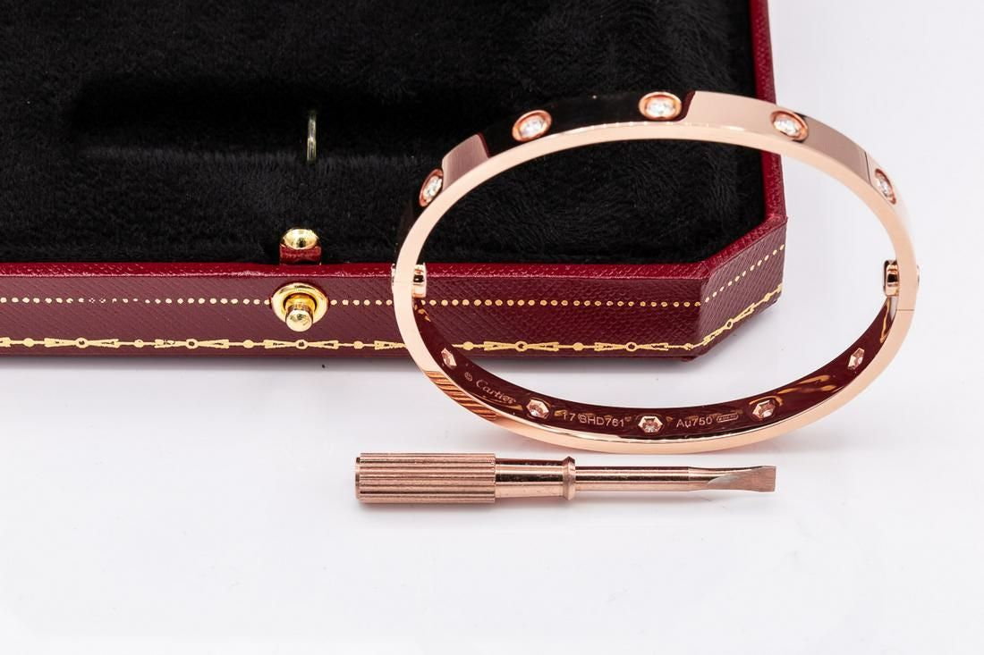 Cartier 18k YELLOW Gold LOVE BRACELET 10 DIAMOND Sz17