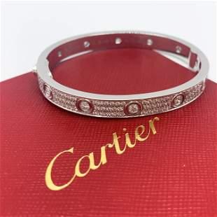 Cartier Love Bracelet 18K White Gold with Pave Diamond
